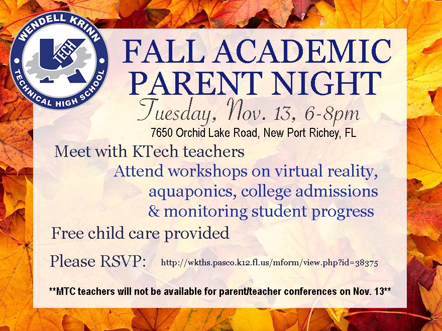 Parent Night, Tuesday, Nov. 13, 6-8pm