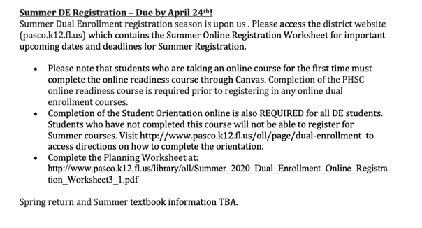 Summer DE Registration – Due by April 24th