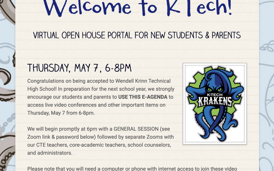 Virtual Open House for New KTech Students
