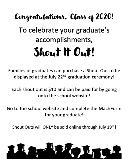 Celebrate your SENIOR with a Shout Out at Graduation