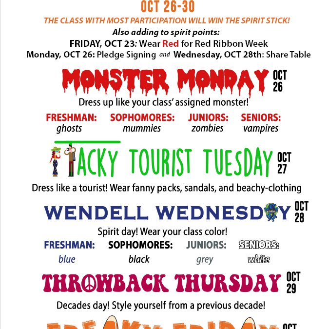 Homecoming Spirit Week 10/26 – 10/30